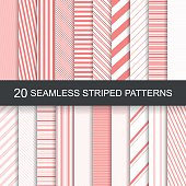 20 vector seamless striped patterns. Red striped design.