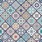Vector seamless texture. Beautiful mega patchwork pattern for design and fashion with decorative elements. Portuguese tiles, Azulejo, Talavera, Moroccan ornaments in rhombus shapes