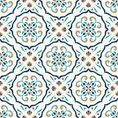 Vector seamless texture. Beautiful colored pattern for design and fashion with decorative elements. Portuguese tiles, Azulejo, Talavera, Moroccan ornaments