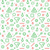 Vector Seamless texture. Pattern of a pizza. Slices and various ingredients.