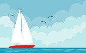 Vector illustration of a boat and summer marine landscape.