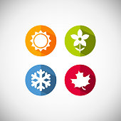 Four seasons icon symbol vector illustration. Weather forecast