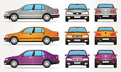 Vector illustration of Car - Classic Sedan Shape - from 3 views - Side, Front and Rear view and in 3 color forms - Silver, Yellow and Violet.