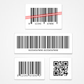 Vector illustration set label barcode and qr code isolated on a white background