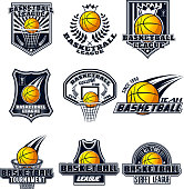 Vector set basketball designs for print, web, design, advertisement, sports team on a white background