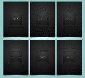 Vector set black packaging templates with brilliant linear geometric and floral damask pattern texture for luxury product. Trendy design for symbol. Premium style brochure