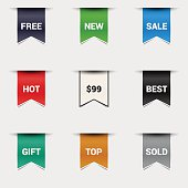 Vector set bookmarks. Collection stickers, price tags. Sale, free, new.