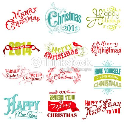 Vector Set Christmas Calligraphic Design Elements Art