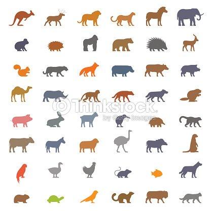 Vector set figures of farm and wild animals : arte vectorial