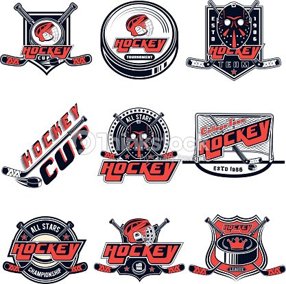 Vector set hockey designs for sports team, design, web, print on white background