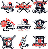 Vector set logo for cricket game for design, advertisement, print web isolated on white background