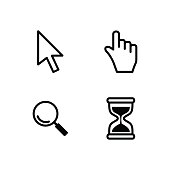 Vector cursors, hourglass,  pointer icon. Vector set of cursors for your application, on a white background ,Technology style.