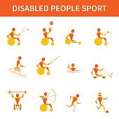 Disabled and handicapped athletes. Vector set of 12 icons. Wheelchair tennis, fencing, archery, powerlifting, swimming, table tennis, cycling, ice sledge hockey, skiing, running, football. Paralympics