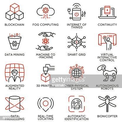 Vektor-Set von 16 lineare Icons, die im Zusammenhang mit Innovationstechnologie : Vektorgrafik