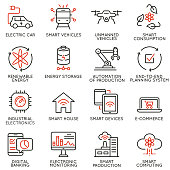 Vector set of 16 linear icons related to future innovation technology. Mono line pictograms and infographics design elements