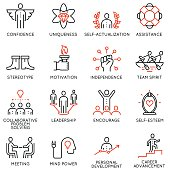 Vector set of 16 linear quality icons related to business management, strategy, career progress and business process. Mono line pictograms and infographics design elements - part 5