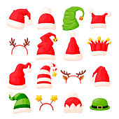 Vector set of various traditional christmas hats or caps and head accessories decorated with fur, bells and stars. 8 caps, 5 hats, 3 other head clothing in red, white and green colors. 3d design