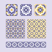 Vector set of 3 ceramic tiles, 2 tiled patterns and border design in blue, white and yellow colors. Spanish, azulejo or moroccan mosaic ornament. Elements for background, floor, fabric and wallpaper.