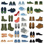 Vector Big Set of 37 illustrations - Cartoon Color Shoe Items.