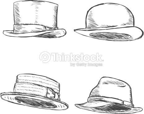 7d1c424b Vector Set Of 4 Sketch Hats stock vector - Thinkstock