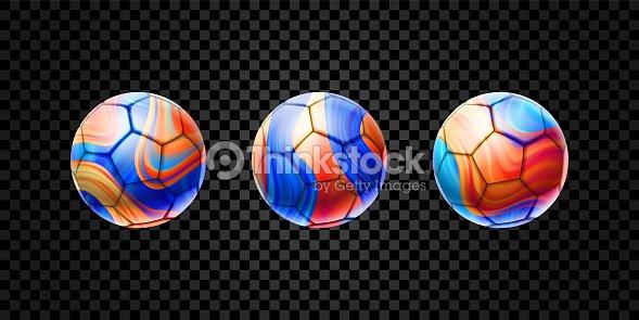 Conjunto de vector de abstractos 3d balones de fútbol aislados sobre fondo  transparente. Diseño líquido 6848eb2eb9759