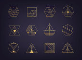 Vector set of abstract geometric icons. Art deco, hipster, golden line style