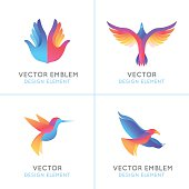 Vector set of abstract gradient emblems and logo design templates - birds and wings - freedom concepts and signs