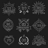 Vector set of anniversary signs hand drawn   vector