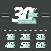 Vector set of anniversary signs. Ten, twenty, thirty, forty, fifty, sixty years design elements collection.