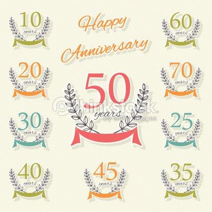 Vector set di simboli di buon anniversario arte vettoriale for Pensieri per 25 anniversario di matrimonio
