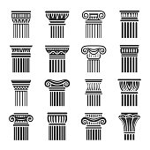 Vector set of antique ornamental column icons in black and white colors. Flat exquisite design. Columns or pillars are decorated in classic greek or roman architectural style. Set consists of 16 icons