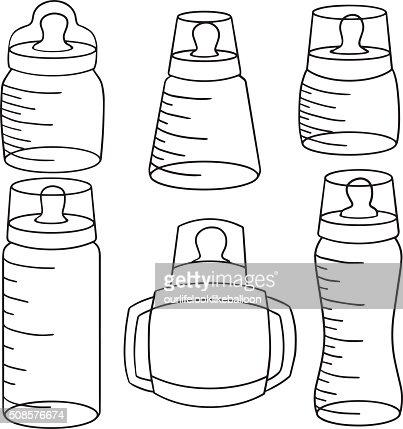 vector set of baby bottle : Vectorkunst