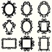 Vector Set of Baroque Frame Silhouettes. Large JPG included. No transparencies or gradients used.