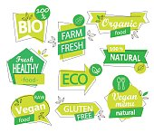 Vector set of bio, eco, organic and natural stickers and logos. Vegan and healthy food badges, tags set for your design - cafe, restaurants, packaging etc. Vector illustration.