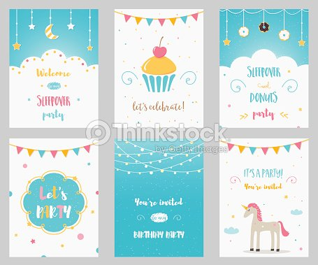 Vector set of birthday and sleepover kids party invitations arte vector set of birthday and sleepover kids party invitations arte vetorial stopboris Images