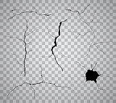 Vector set of black cracks and holes isolated on transparent background