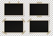 Vector set of black photo frames with various shadows. Glued with adhesive tape mock up of frames