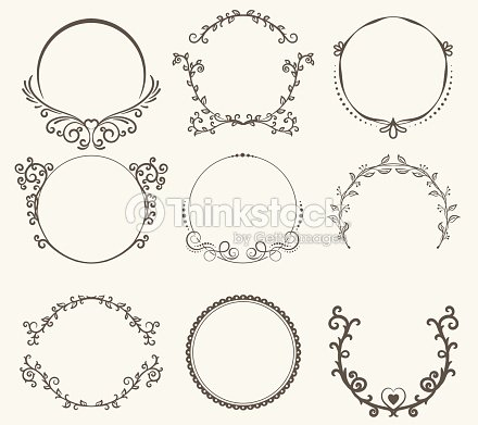 vector set of border circle frame vintage style vector art thinkstock