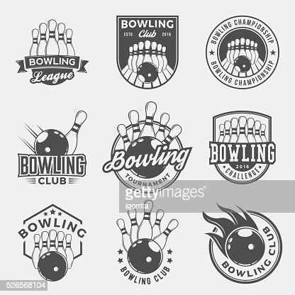 vector set of bowling logos, emblems and design elements : stock vector