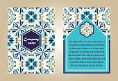 Vector set of colorful brochure templates for business and invitation. Portuguese, Moroccan; Azulejo; Arabic; asian ornaments. Geometric and floral motifs. A4 format