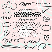 Vector set of brush pen strokes, lines and  dots. Abstract  design elements for your design
