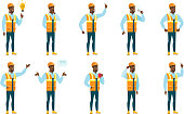African-american builder thinking. Full length of thinking builder with hand on chin. Builder thinking and looking to the side. Set of vector flat design illustrations isolated on white background.