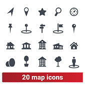 Map, location and navigation vector icons set. Place, pin, direction, landmark, compass, flag pictograms. Isolated on white background.