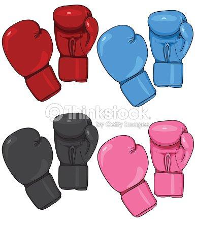 vector conjunto de dibujos animados guantes de boxeo arte vectorial
