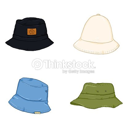 Vector Set Of Cartoon Bucket Hats Hiphop Style Headwear Vector Art ... c918174f940