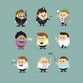 Vector set of Cartoon characters with different professions(Scuba diving,Police officer, Detective,Artist,Cameraman,Photographer,Doctor,Waiter,Scientist and Teacher astronaut,singer,Football player )