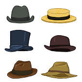 Vector Set of Cartoon Color Classical Types Hats. Homburg, Kanotie, Cylinder, Bowler, Fedora, Trilby.