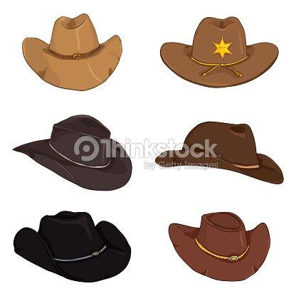 Vector Conjunto De Sombreros De Vaquero De Color De Dibujos Animados ...