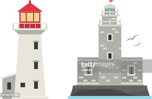 Vector set of cartoon flat lighthouses. : Vector Art