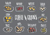 Vector set of cereal emblems with white handwritten lettering and hand-drawn stylized grains on black background. For packing groats, advertising healthy food.